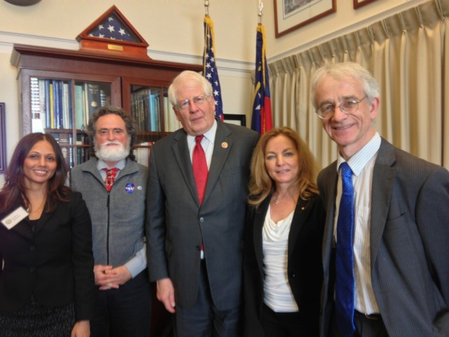 Representative Price meets with members of the North Carolina team. (Left to right: Jenny Dissen, DeWayne Cecil, Rep. Price, Susan Hassol, and Richard Smith.)